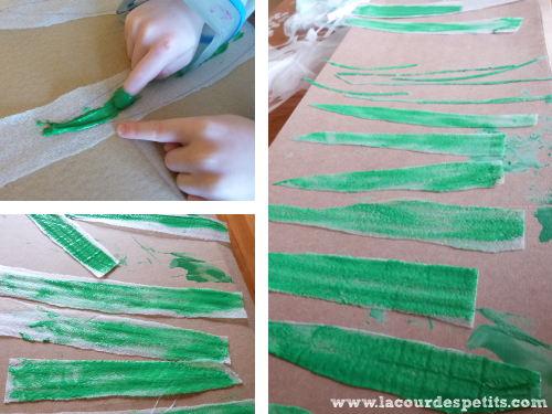 Peinture feuille déco fenetre