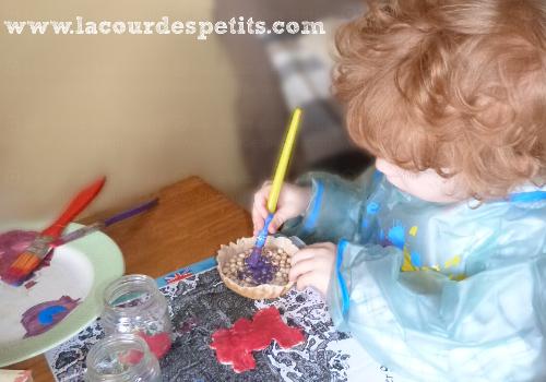 Peintures des gâteaux en pâte à sel