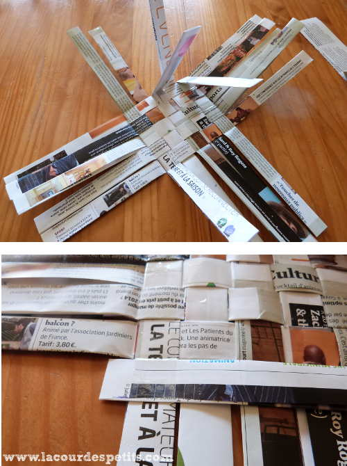 Tuto Panier Tressage Journal : Un panier en papier tress? pour les petites mains la cour