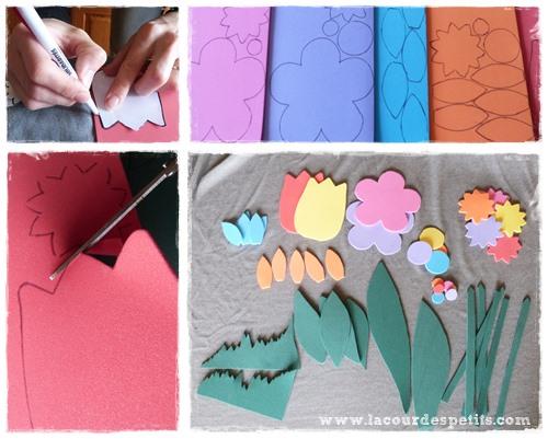 bricolage avec du papier mousse des fleurs pour les fen tres la cour des petits. Black Bedroom Furniture Sets. Home Design Ideas
