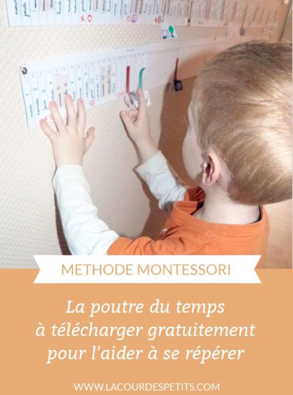 La poutre du temps Montessori à imprimer gratuitement pour aider les enfants à se repérer. #montessori #poutredutemps #lacourdespetits