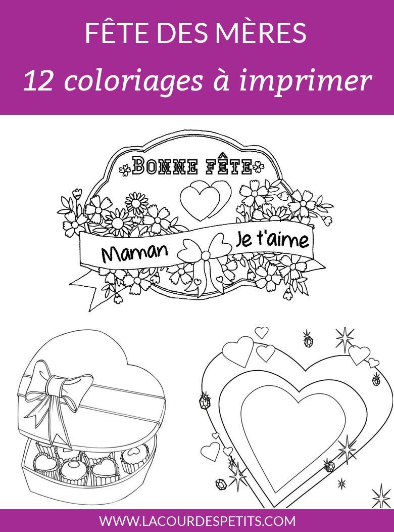 12 Coloriages Pour La Fête Des Mères Avec Un Cadeau La Cour Des Petits