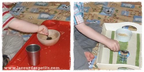 Transvasements Montessori selon âge