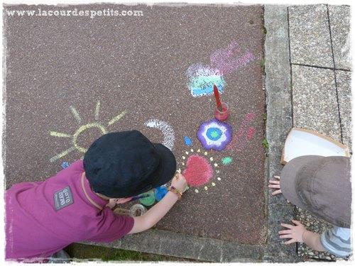 Peinture avec craie de trottoir