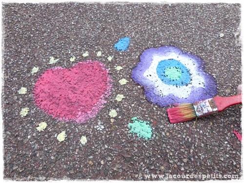 Peinture craie trottoir