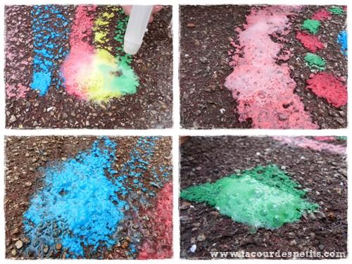 Peinture à la craie magique trottoir