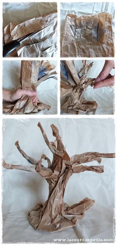 Bricolage automne arbre sac papier