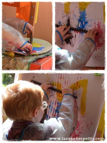 Peinture enfant sans pinceaux reliure
