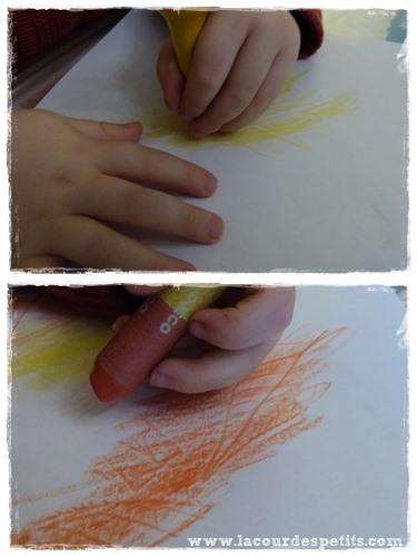 Bricolage Automne Avec Crayons Multicolores Et Feuilles Automnales ...