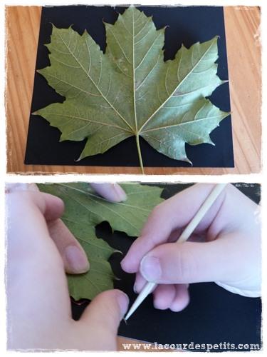 Bricolage automne feuille papier a gratter