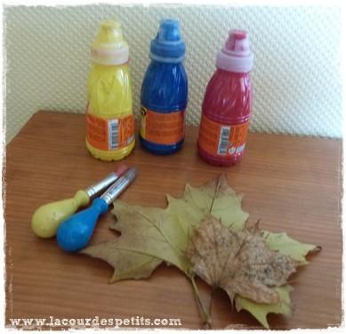 Bricolage automne feuille peinture materiel