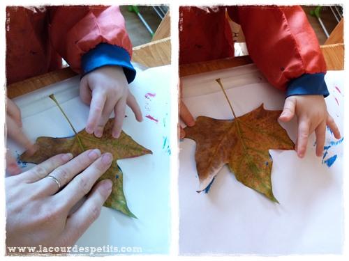 Bricolage automne feuille peinture