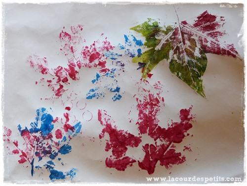 Bricolage automne feuilles peinture