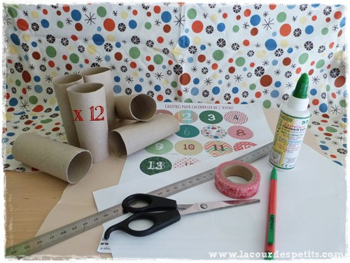 Calendrier avent rouleaux papier toilette materiel