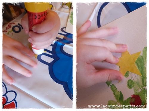 peinture doigt noel colle