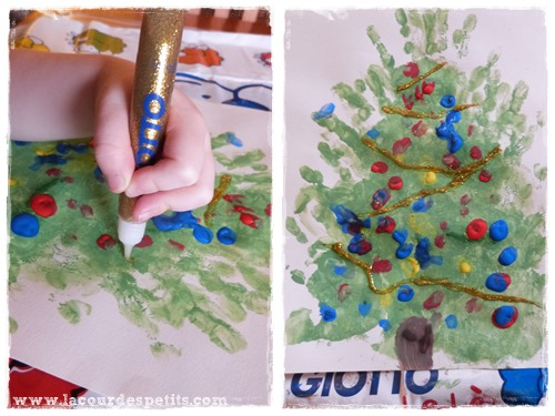peinture doigt noel glitter glue