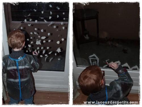 Recette de peinture de fen tre pour no l la cour des petits - Decoration de noel pour fenetre ...