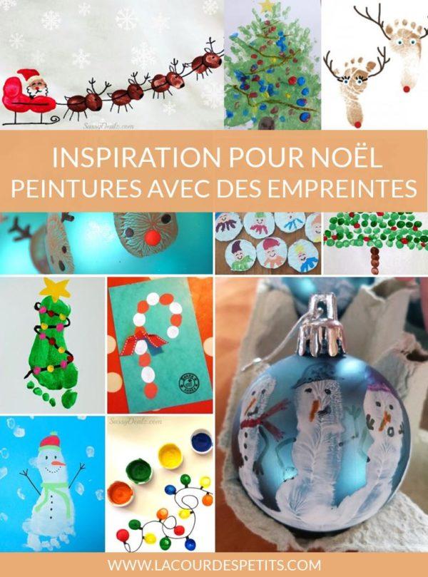 Inspiration pour Noêl peintures avec des empreintes