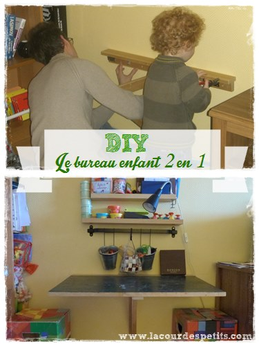 Diy le bureau enfant gain de place 2 en 1 la cour des for Bureau enfant gain de place