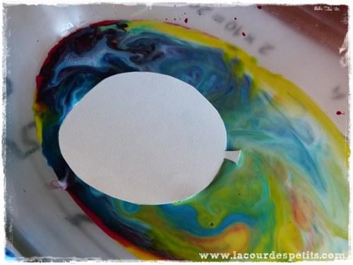 papier marbre lait magique