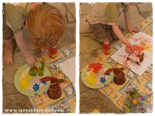 peinture feuille enfant