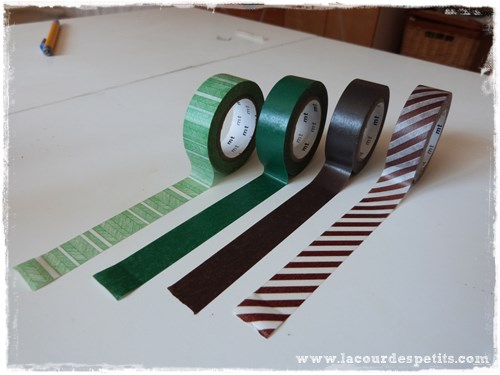washi tape marron vert