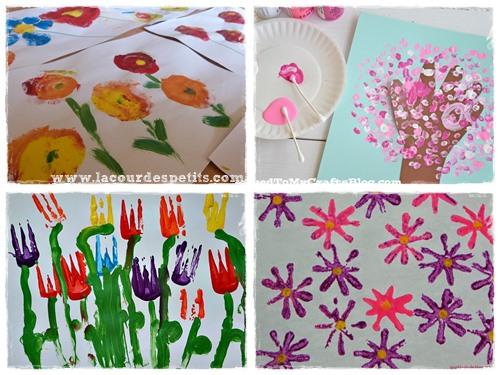 peinture fleurs maternelle