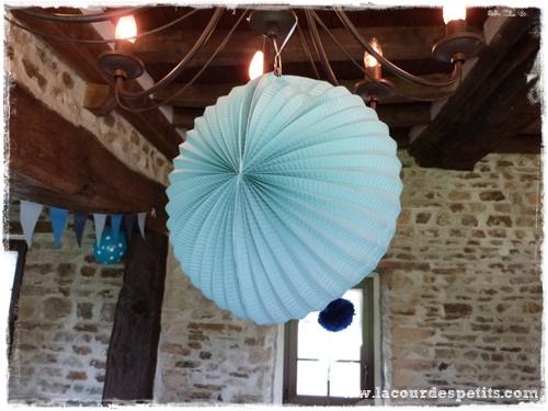 Lanterne papier bleue