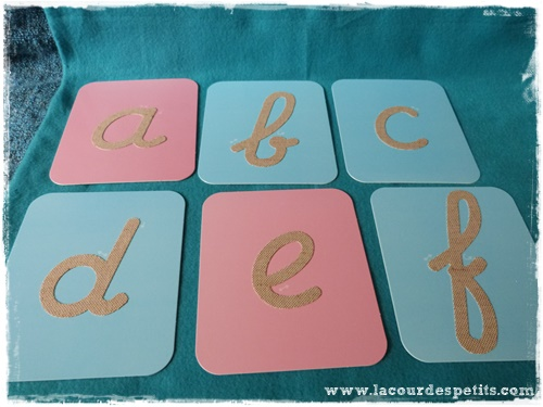 alphabet Montessori lettres rugueuses