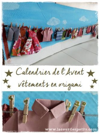 Calendrier de l'avent en origami. Un calendrier original à faire soi même avec quelques beaux papiers et plein de pliages. Réalisé avec les enfants. découvrez le tuto en cliquant sur l'image.
