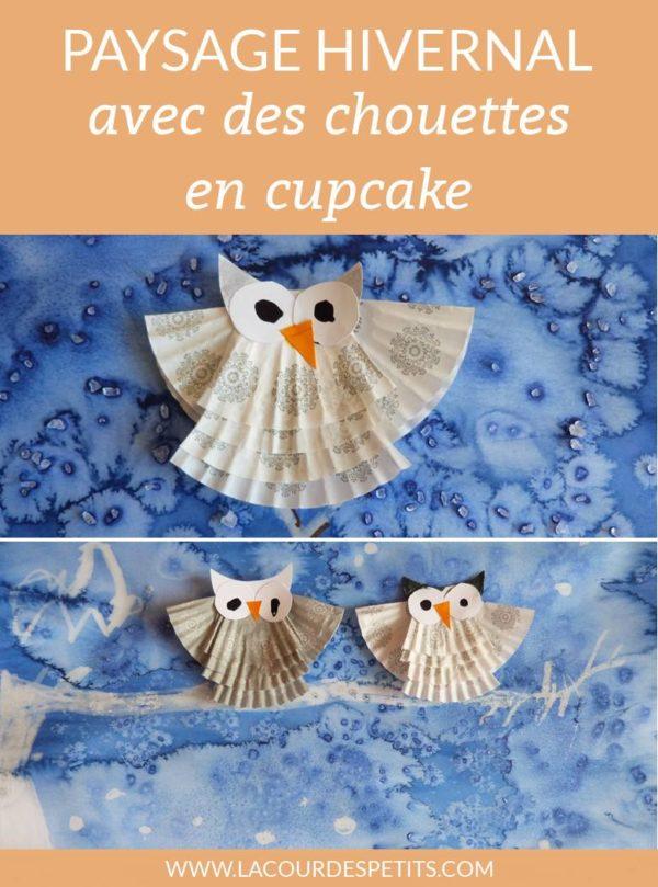 Paysage hivernal avec des chouettes en cupcake