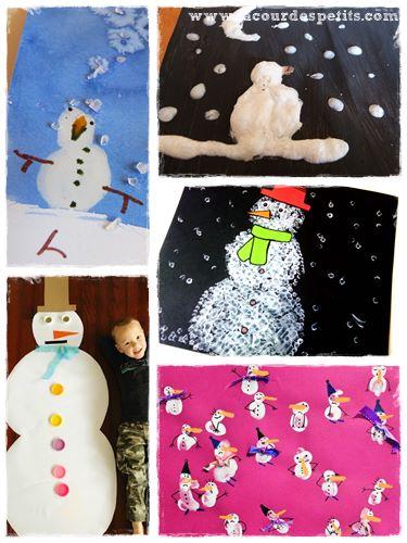 peinture bonhomme neige