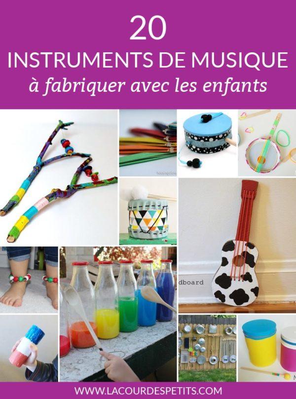 Plein d'idées de bricolage à faire avec les enfants pour fabriquer des instruments de musique.