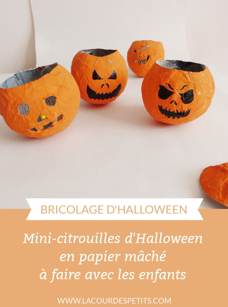 diy d 39 halloween des mini citrouilles en papier m ch la cour des petits. Black Bedroom Furniture Sets. Home Design Ideas