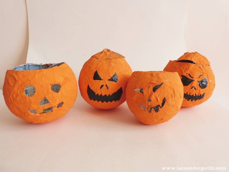 diy d 39 halloween des mini citrouilles en papier m ch la. Black Bedroom Furniture Sets. Home Design Ideas