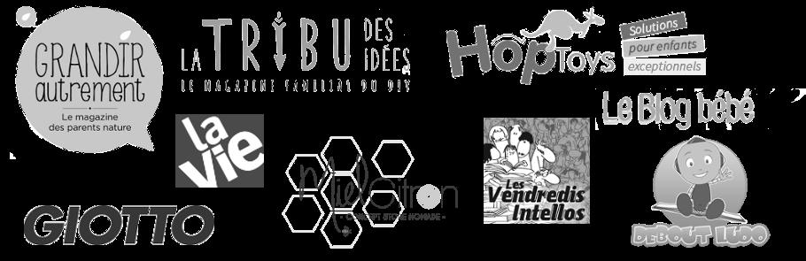 Logos Grandir autrement La tribu des idées La Vie Hop Toys Giotto Miel Citron Les Vendredis intellos Debout Ludo Le Blog bébé